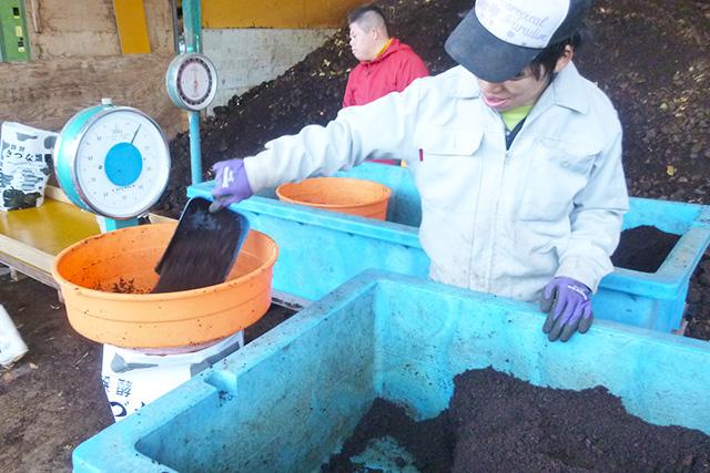 堆肥の袋詰め作業